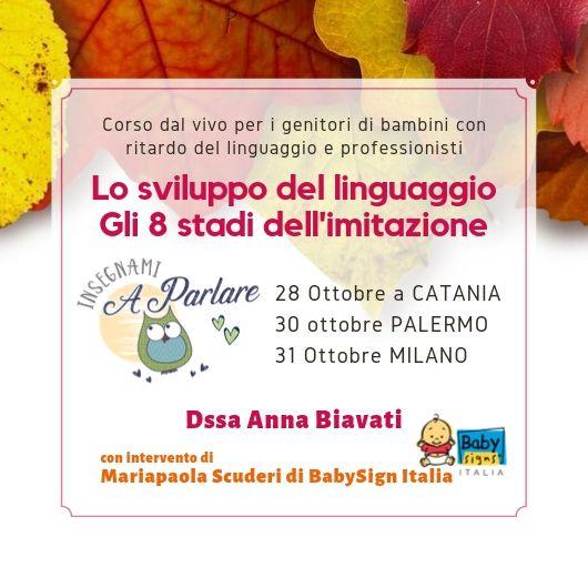 Vieni al corso sullo sviluppo del linguaggio a Milano, Catania e Palermo